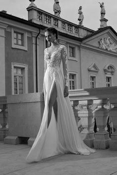 2015 V-Neck Full Sleeves Wedding Dresses A Line With Applique USD 189.99 EPPHN98BT2 - ElleProm.com