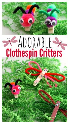These clothespin crafts are a fun and easy kids craft. Check out how to make these cute dragonfly and caterpillar clothespin critters! 5 minutes and you can make a dozen.