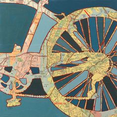Bike New York City vintage bicycle art by OffTheMapArt on Etsy, $17.00