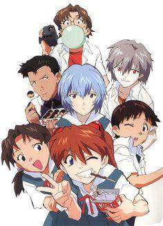 evangelion asuka et shinji,misato - Bing images Me Anime, Fanarts Anime, Anime Characters, Manga Anime, Anime Art, Neon Genesis Evangelion, Asuka Langley, Rei Ayanami, Manga Covers
