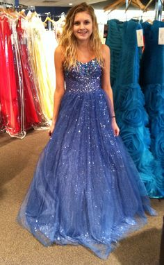 Blue and sparkly prom dress.