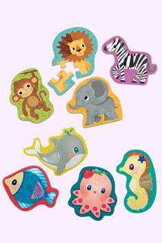 Roztomilé puzzle so zvieratkami je vhodné už pre najmenšie detičky. Obrázky zvierat, ktoré poskladajú len z 2-3 kúskov, ich naučia spoznávať vodné i safari tvory, ale tiež rozvíjajú ich zručnosť a jemnú motoriku. #puzzle Safari, Puzzle, Riddles, Puzzles, Jigsaw Puzzles