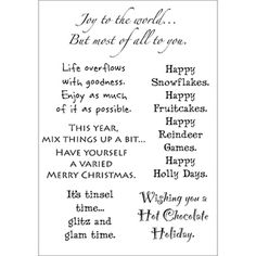 Card sentiments for the upcoming holiday season other pinterest these clear stamp sets present the perfect sentiment each set features a variety of words and phrases that are great for both handmad m4hsunfo