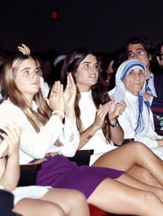 Sydney Lawford, Maria Shriver and Mother Teresa at the Joseph Kennedy Jr. International Symposium at the Kennedy Center in Washington D.C., 1971