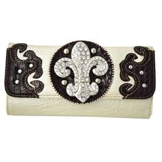 Western Rhinestone Bling Fleur De Lis Accent Wallet With Golden Brown Trim Brown >>> Be sure to check out this awesome product. Cute Wallets, Brown Trim, Brown Wallet, Checkbook Cover, Leather Material, Card Wallet, Women Accessories, Women Jewelry, Golden Brown