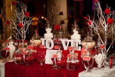 Red and Silver Candy Buffet - Style My Celebration 2 Red Candy Buffet, White Candy Bars, Lolly Buffet, Wedding Candy Table, Wedding Desserts, Buffet Wedding, Black And White Centerpieces, Blue Red Wedding, Bar A Bonbon