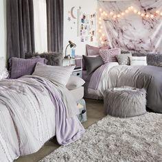 Purple Dorm Rooms, Dorm Room Colors, Cute Dorm Rooms, Room Ideas Bedroom, Girls Bedroom, Purple Bedroom Decor, Bedroom Furniture, Master Bedroom, Dorm Room Designs