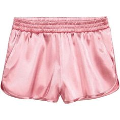 Satin shorts (5.185 CLP) ❤ liked on Polyvore featuring shorts, h&m, elastic waistband shorts, elastic waist shorts, satin shorts, short shorts and stretch waist shorts