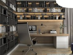 lighting and desk with shelves above - like the filing cabinet Home Office Closet, Home Office Setup, Home Office Design, House Design, Lofts, Modern Office Desk, Interior Design Presentation, Restaurant Interior Design, Home Renovation