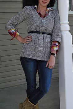 plaid under sweater- belted