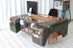 Land Rover office desk custom up-cycled car furniture hand made *father's day!* in Cars, Motorcycles & Vehicles, Cars, Land Rover/Range Rover Car Part Art, Bar, Car Furniture, Classic Car Insurance, Automotive Decor, Garden Office, Decoration, Custom Homes, Office Desk