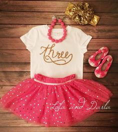Number Three shirt with GOLD SPARKLE  T shirt for toddlers and girls.    This listing is only for the shirt. Available Sizes:    2T, 3T, 4T
