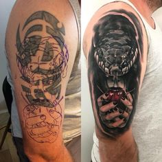 Snake coverup tattoo by Sebastian. Limited availability at Salvation Tattoo Studios. Tennessee Tattoo, Salvation Tattoo, Dark Tattoo, Cover Up Tattoos, Body Modifications, Tattoo Studio, Hare, Tattoo Designs, Illustration Art
