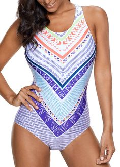 5bdee5245bb1a Padded Keyhole Back Printed One Piece Swimwear on sale only US 30.06 now