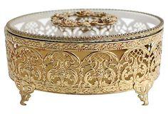 Oval Filigree Trinket Box~                               on OneKingsLane.com