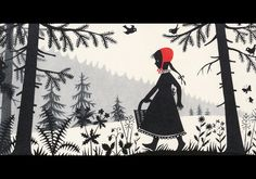 """The Fairy Tales of the Brothers Grimm Little Red Riding Hood"""" illustration by Divica Landrová Brothers Grimm Fairy Tales, Grimm Tales, Little Red Ridding Hood, Red Riding Hood, Walter Crane, Charles Perrault, Fairytale Art, Children's Book Illustration, Artwork"""