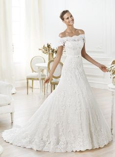 Wedding Dresses - $269.54 - A-Line/Princess Off-the-Shoulder Chapel Train Lace Wedding Dress With Beading Appliques Lace (0025060128)