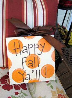 Happy Fall Ya'll Thanksgiving Halloween Canvas Sign. $25.00, via Etsy.