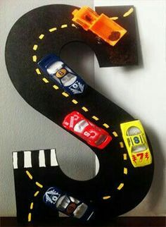Wooden Letter available in Hand painted with Acrylic paint Miniature cars attached Wooden Letter Crafts, Painting Wooden Letters, Painted Letters, Monogram Letters, Free Monogram, Monogram Fonts, Hand Painted, Foam Letters, Wood Letters Decorated