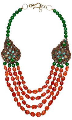 Multi-Strand Necklace with Carnelian Gemstone Beads, Jade Gemstone Beads and Seed Beads - Fire Mountain Gems and Beads