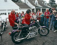 Elizabeth Taylor was gifted with a motorcycle, a Harley-Davidson she named Purple Passion, by Malcolm Forbes. Cute!