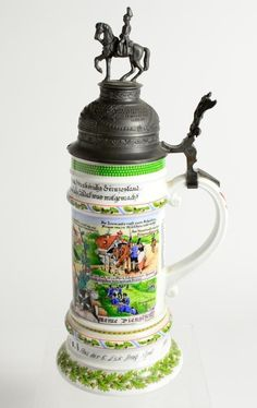 Vintage Kaiser W Germany 483 D Historic Cavalry Regiment Pewter Lid Beer Stein #Kaiser #collectible #pottery