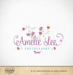 Logo Design Hand Drawn Whimsical Flowers by Demoisellepixel, $34.90