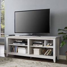 "TV Stand Console Entertainment Center Media Open Storage Shelves 60"" White New #WEFurniture #Contemporary"