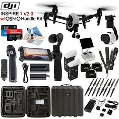 DJl lnspire 1 V2.0 with OSMO Handle Kit & eDigitalUSA Pro Kit: Includes Spare TB47B Battery 4 Piece Filter Kit SanDisk 64GB Extreme Pro MicroSD Card and more