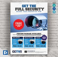 This CCTV Package Promotional Flyer Design has been develop to boost your marketing campaign. Flyer Design Templates, Psd Templates, Promo Flyer, Cctv Surveillance, Camera Shop, Promotional Flyers, Marketing Opportunities, Custom Packaging, Social Media