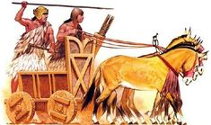 Angus Mc Bride - Carruaje de guerra sumerio basado en los hallazgos de la Tumba Real de Ur.
