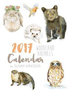2017 Woodland Animals Desk Calendar