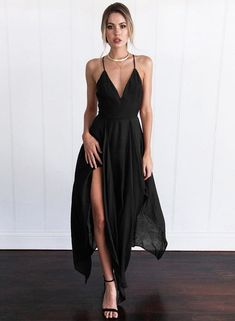 B chicloth women s v neck sleeveless backless slit irregular maxi dress stunning tulle satin bateau neckline see through a line wedding dresses with lace appliques on luulla Cheap Maxi Dresses, Cheap Dresses Online, Women's Dresses, Cute Dresses, Evening Dresses, Casual Dresses, Formal Dresses, New Mode, Black Dress Outfits