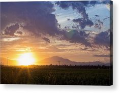 Clouded sky orange sunset with green field Acrylic Print by Denys Siryk Thing 1, Green Fields, Da Nang, Any Images, Asia Travel, Beautiful World, Clear Acrylic, Airplane View, Fine Art America