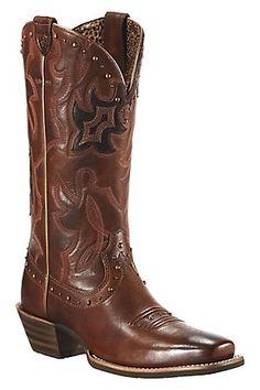 Ariat Runaway Ladies Vintage Carmel w/ Rich Chocolate Square Toe Cowboy Boots