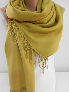 Olive Green Pashmina Scarf Shawl Women Cowl Long by ScarfClub...love this color!