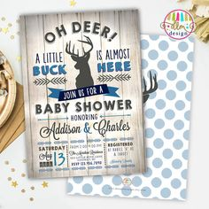 Oh Deer Baby Shower Printable Invite Little Buck by DreamlikeMagic