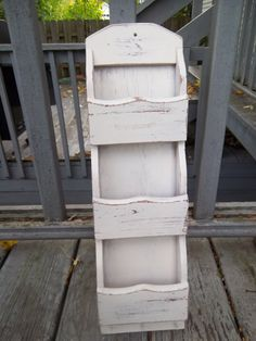 Vintage - Wood - Wall Mounted Mail Organizer - Letter Holder - Shabby Chic - Vanilla