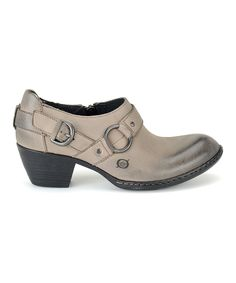 Gray Zowy Leather Bootie