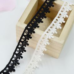 2 Yards width 0.79 inches Ivory/black lace trim,flowers embroidered lace,Cotton floral lace trim,scalloped trim lace for DIY dress(1-80)