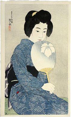 Twelve Images of Modern Beauties: Cotton Kimono (Shin bijin junisugata: Yukata), 1922. By Ito Shinsui, 1898-1972