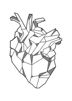 46 ideas for tattoo geometric origami tatoo Geometric Heart Tattoo, Geometric Drawing, Geometric Art, Geometric Origami, Tattoo Geometrique, Natur Tattoos, Heart Illustration, Inspiration Art, Heart Art