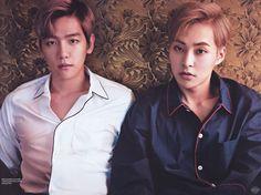 Singles Korea, December 2015 Issue : Baekhyun and Xiumin