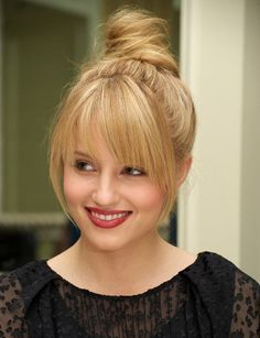 Easy hairstyles.  Shoulder length hair in an updo with bangs.  Great hairstyles for 2015.