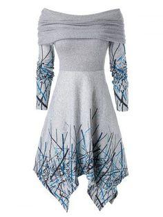 Buy Now! Plus Size Off Shoulder Foldover Graffiti Hanky Hem Dress Fall Dresses, Cute Dresses, Vintage Dresses, Cute Outfits, Elegant Dresses, Dresses For Tweens, Classy Dress, Casual Fall, The Dress