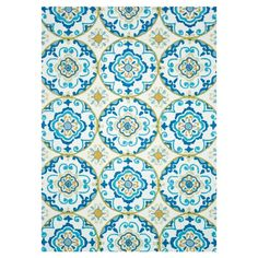 Rug with Suzani motif.  Product: RugConstruction Material: 100% PolyesterColor: Ivory and blue