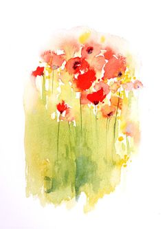 Red Poppies original watercolour painting 8 x 10 inches. $42.00, via Etsy.