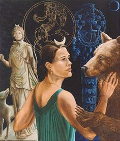 A tame bear lived near the temple of Artemis.  A girl teased the bear, which struck her.  Her brothers killed the bear in revenge.  Artemis sent a plague on the people of that region until they agreed that, once a year, the young girls would dance the role of the she-bear in a mystery play, hoonouring the original beast.