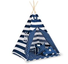 Teepee set with floor mat and pillows - Navy Stripes - Fun with Mum UK - crafted with love
