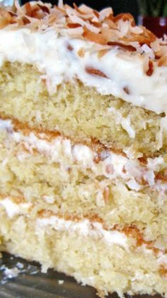 Coconut Cream Cake ~ This cake is incredible. Soft and moist in the middle, with three layers separated by coconut and pecan studded cream cheese frosting and topped with golden toasted coconut. Delicious Cake for everyday 13 Desserts, Coconut Desserts, Coconut Recipes, Baking Recipes, Delicious Desserts, Cake Recipes, Dessert Recipes, Coconut Cakes, Lemon Cakes